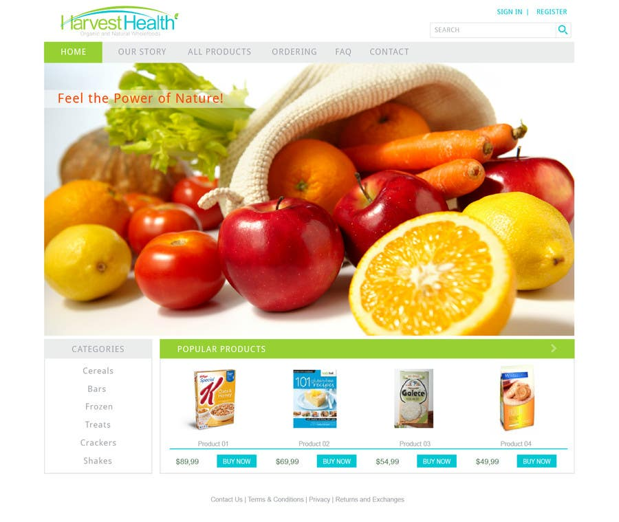 Konkurrenceindlæg #                                        10                                      for                                         Design a Website Mockup for A Health Food Shop