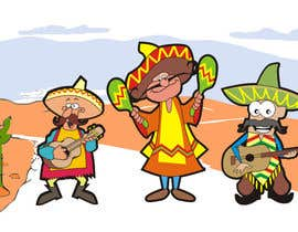 #5 untuk Illustration of 3 Cartoon Mexican Guys oleh aarpum18