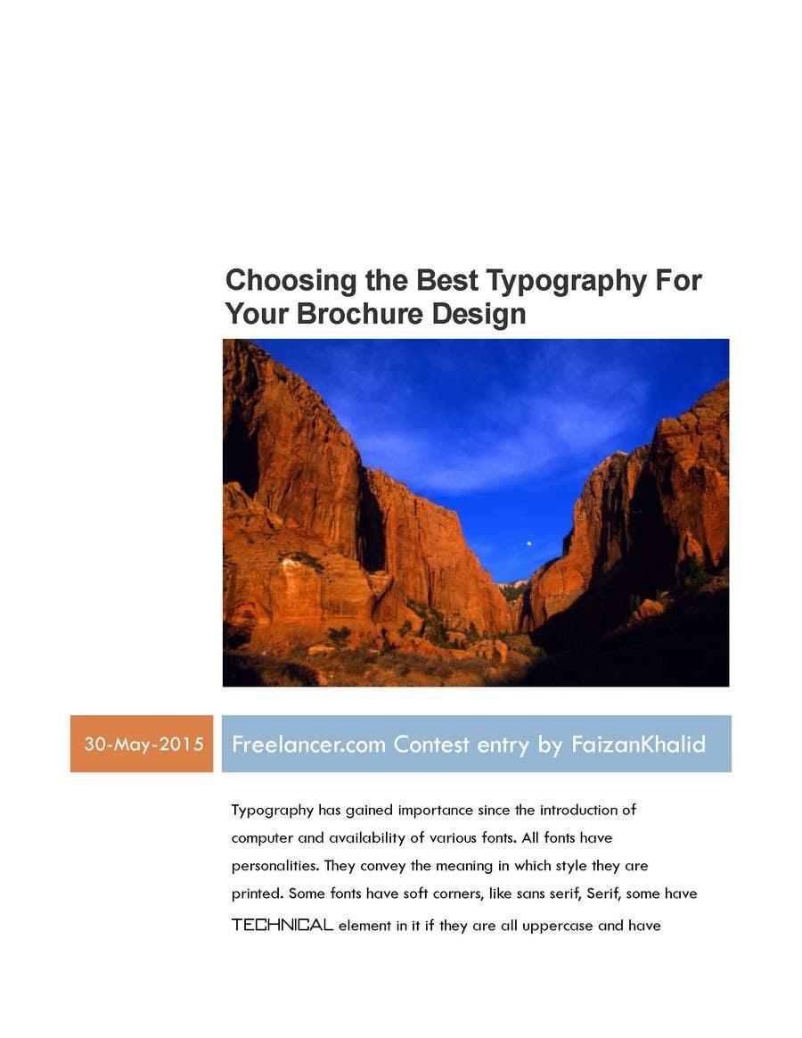 "Penyertaan Peraduan #21 untuk Write an article about ""Choosing the Best Typography For Your Brochure Design"""