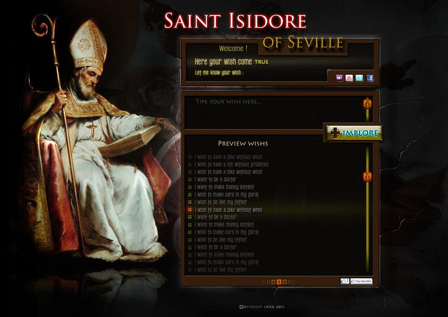 Bài tham dự cuộc thi #23 cho Graphic Design for One page web site for the Saint Of the Internet: St. Isidore of Seville