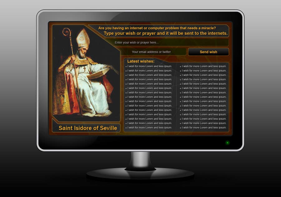 Entri Kontes #8 untukGraphic Design for One page web site for the Saint Of the Internet: St. Isidore of Seville