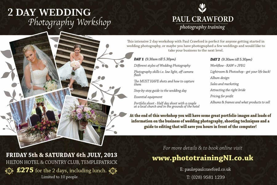 Bài tham dự cuộc thi #                                        33                                      cho                                         Design a Flyer for my wedding photography workshops
