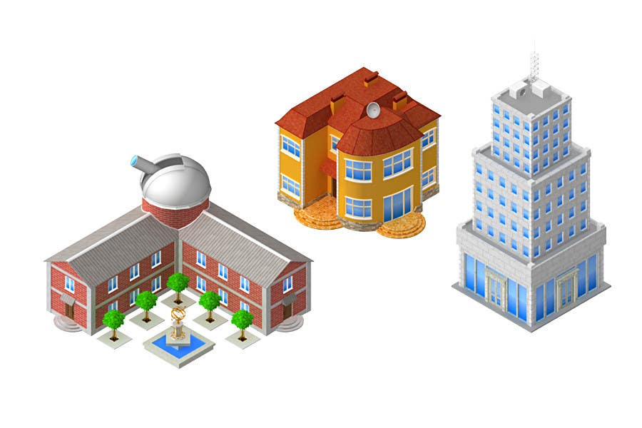 "Intrarea #5 pentru concursul ""100 isometric building designs for iPhone/Android city building game"""