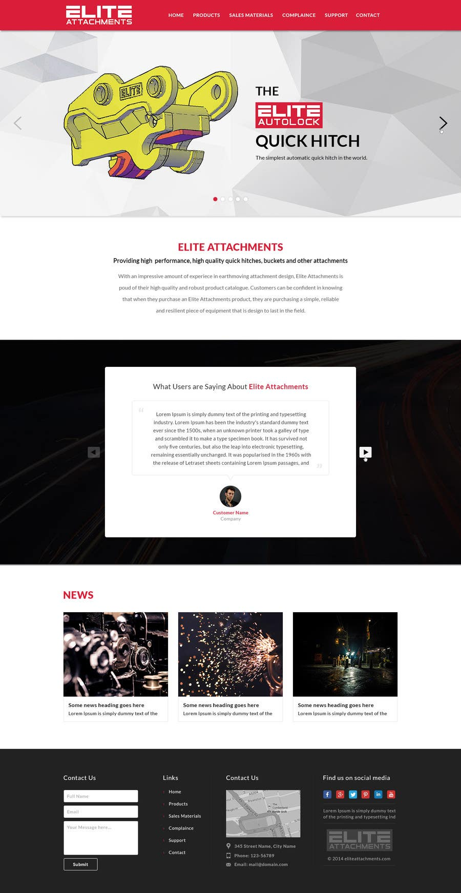 Konkurrenceindlæg #22 for Design a Website Mockup for Elite Attachments Website