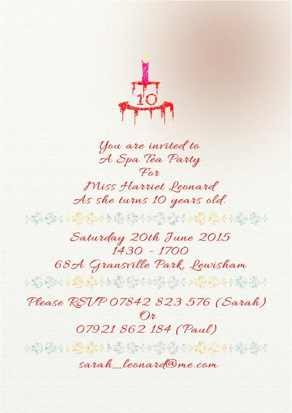 Entry #3 by r00tt for 10th Birthday Party Invite | Freelancer