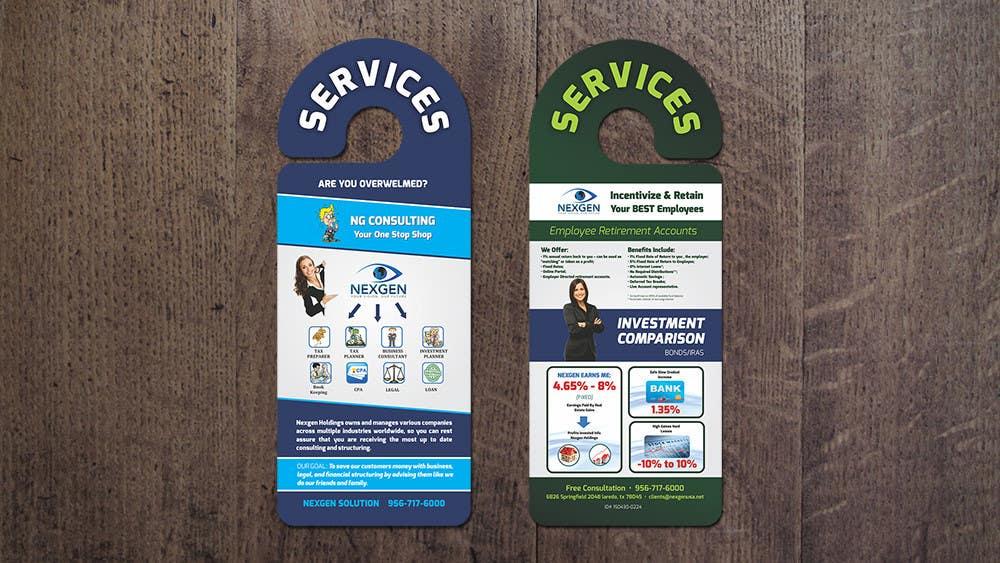 Inscrição nº 12 do Concurso para Design a Brochure for a Door Hanger- Investments and Business Services