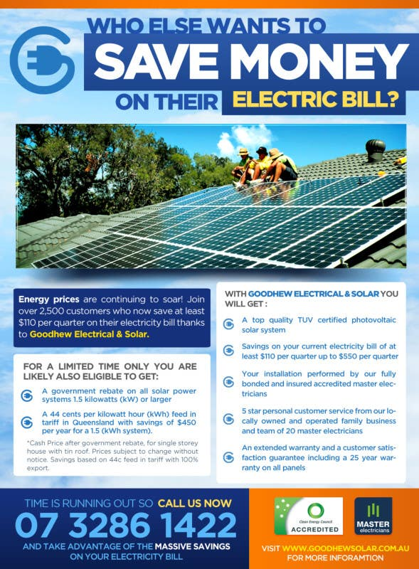 Contest Entry #                                        43                                      for                                         Advertisement Design for Goodhew Solar & Electrical