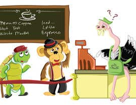 #63 para Cartoon animals queuing in a coffee shop por nonie26