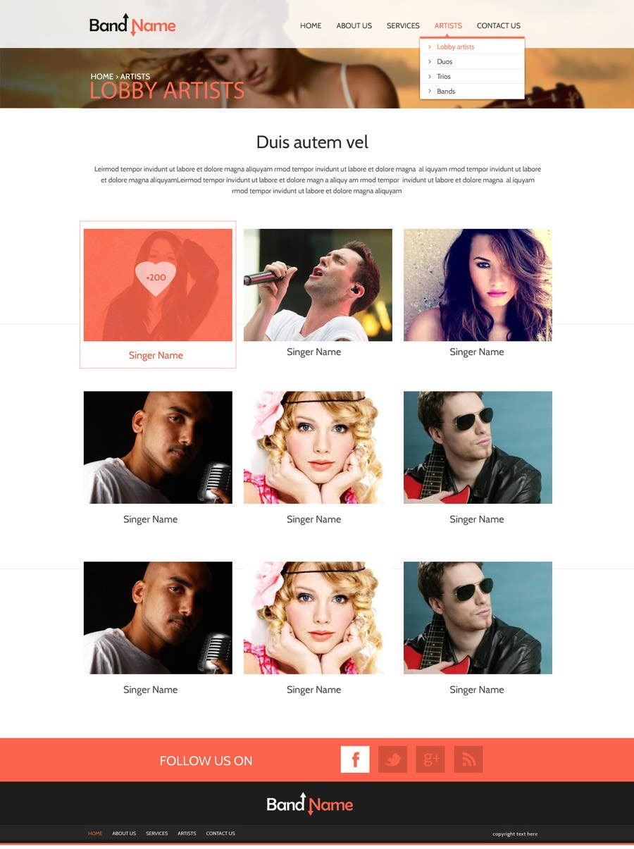 Bài tham dự cuộc thi #                                        12                                      cho                                         Design a Website for Music Band introduction site