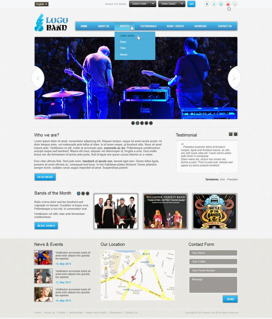 Bài tham dự cuộc thi #6 cho Design a Website for Music Band introduction site
