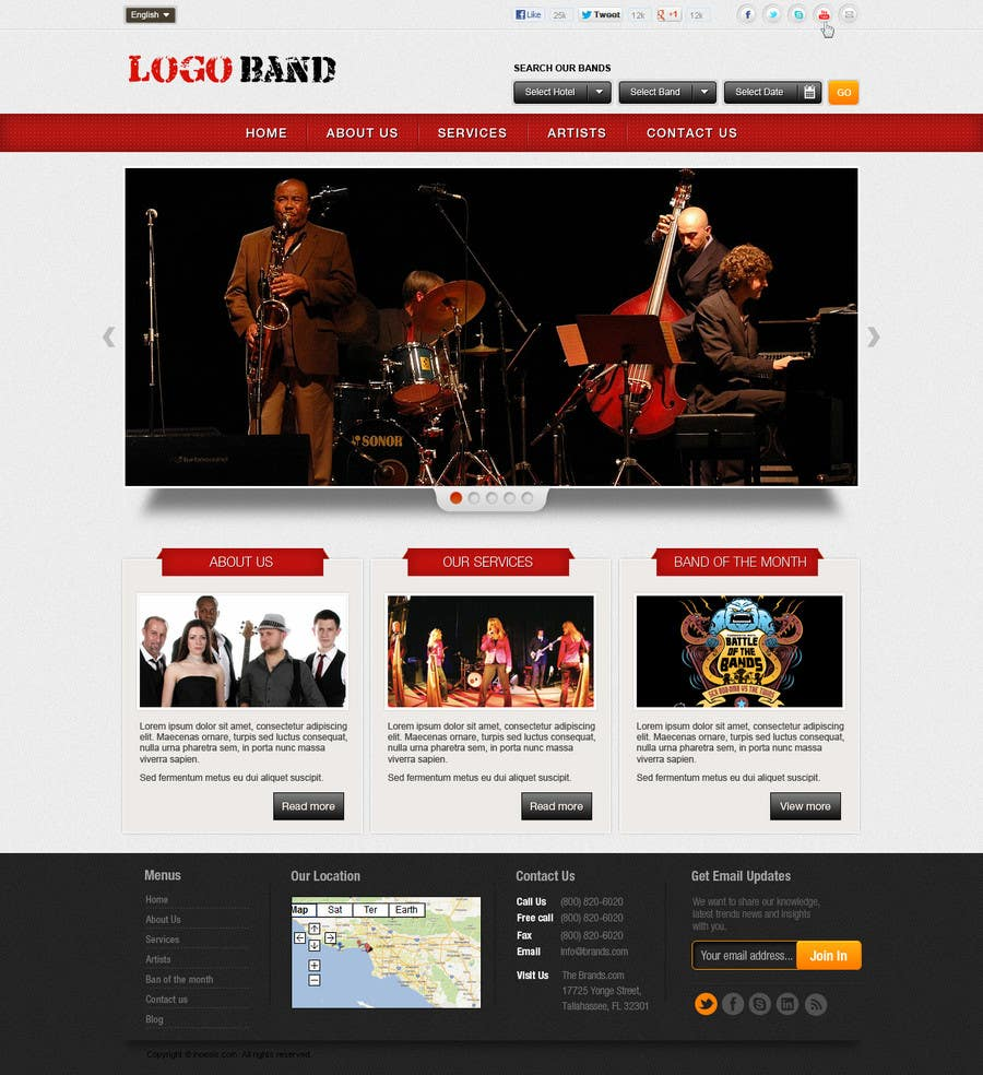 Bài tham dự cuộc thi #13 cho Design a Website for Music Band introduction site