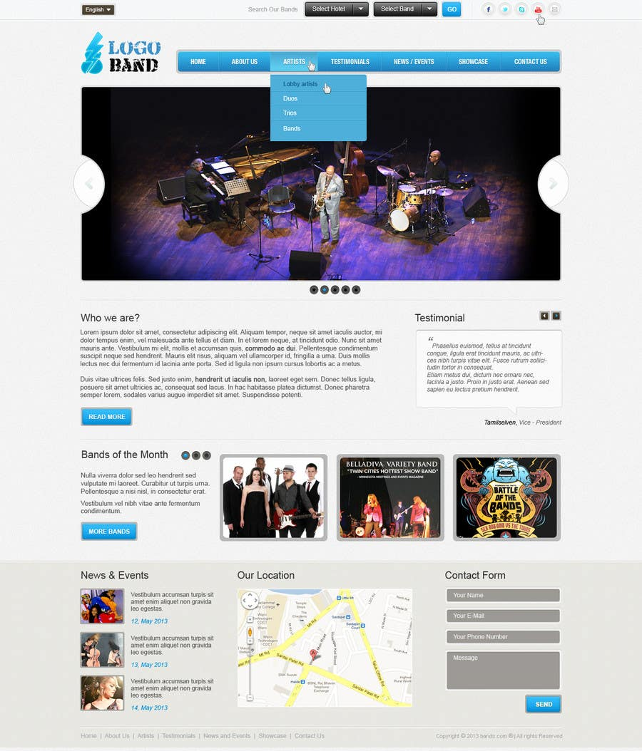 Bài tham dự cuộc thi #14 cho Design a Website for Music Band introduction site