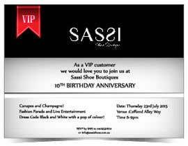 Nro 14 kilpailuun design VIP invite for shoe store 10th Anniversary käyttäjältä Tszocske