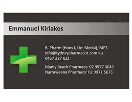 rwijaya tarafından Business Card Design for retail pharmacist based in Sydney, Australia için no 12