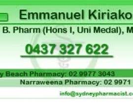 #23 dla Business Card Design for retail pharmacist based in Sydney, Australia przez gbanks
