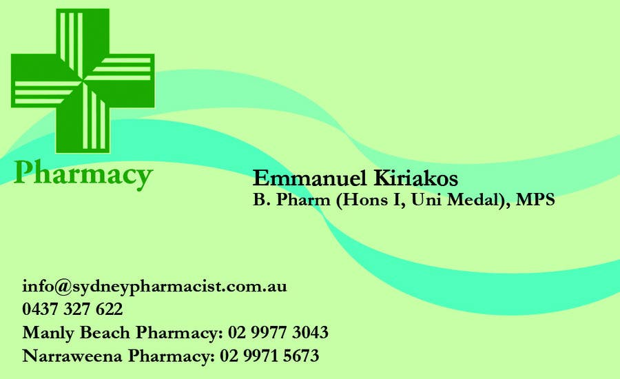 Penyertaan Peraduan #18 untuk Business Card Design for retail pharmacist based in Sydney, Australia