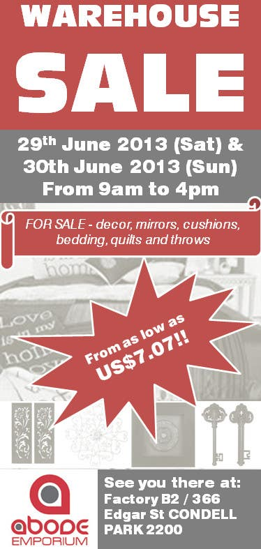 Contest Entry #5 for Design a Flyer for Homewares Warehouse Sale