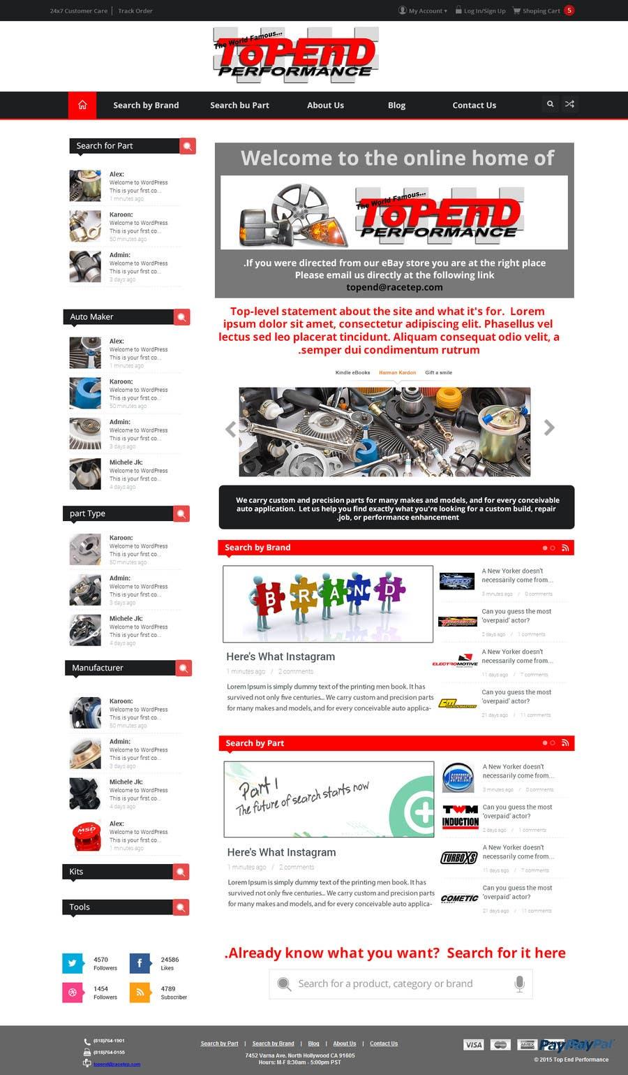 Bài tham dự cuộc thi #6 cho Design a Website Mockup for an auto parts wesbite