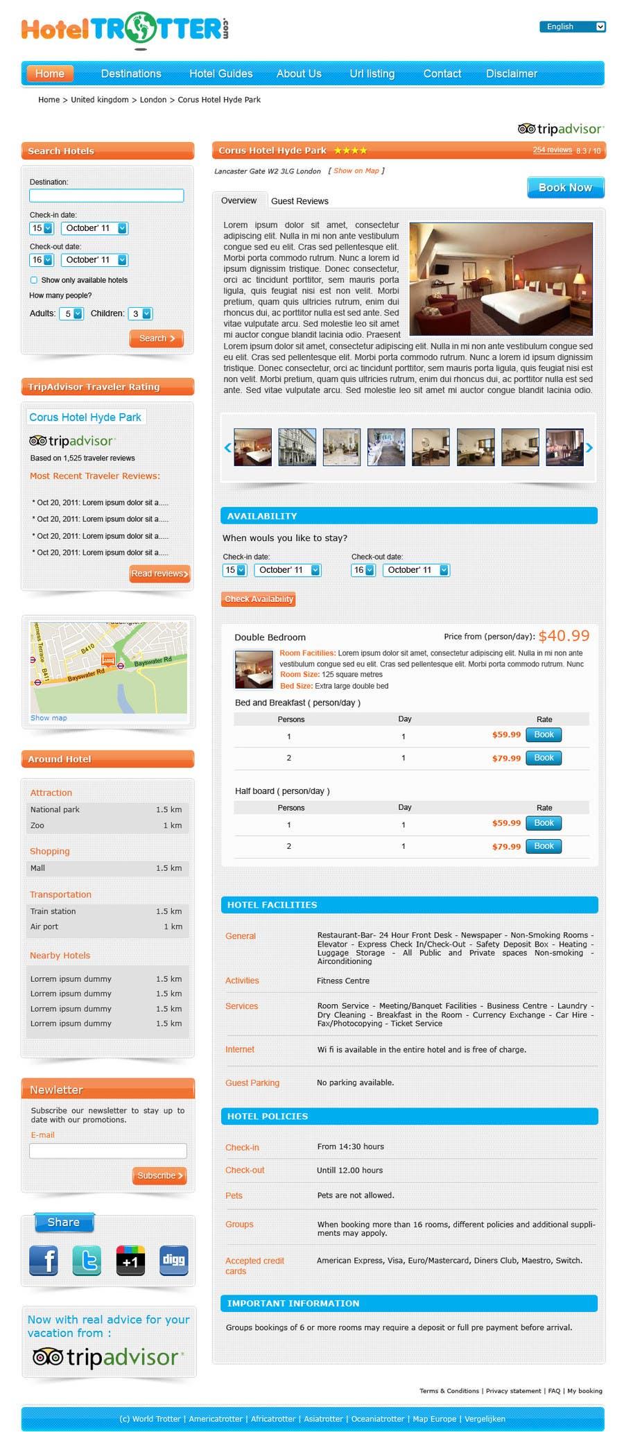 Inscrição nº 82 do Concurso para Website Design for Hoteltrotter