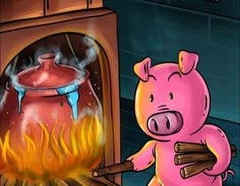 "#8 for Illustration for one page from the famous story ""Three little pigs"" af janvicvictorio"
