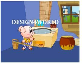 "#14 cho Illustration for one page from the famous story ""Three little pigs"" bởi design4world"
