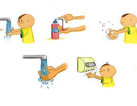 nº 6 pour 5 drawings for a strip depicting the washing of hands for children par anindya12