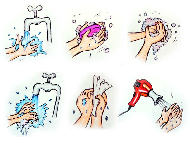 Bài tham dự cuộc thi #                                        1                                      cho                                         5 drawings for a strip depicting the washing of hands for children