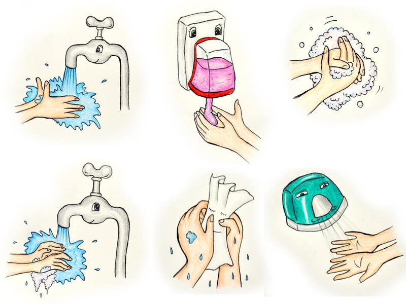 Bài tham dự cuộc thi #                                        9                                      cho                                         5 drawings for a strip depicting the washing of hands for children