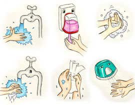 #9 para 5 drawings for a strip depicting the washing of hands for children por Chalice777