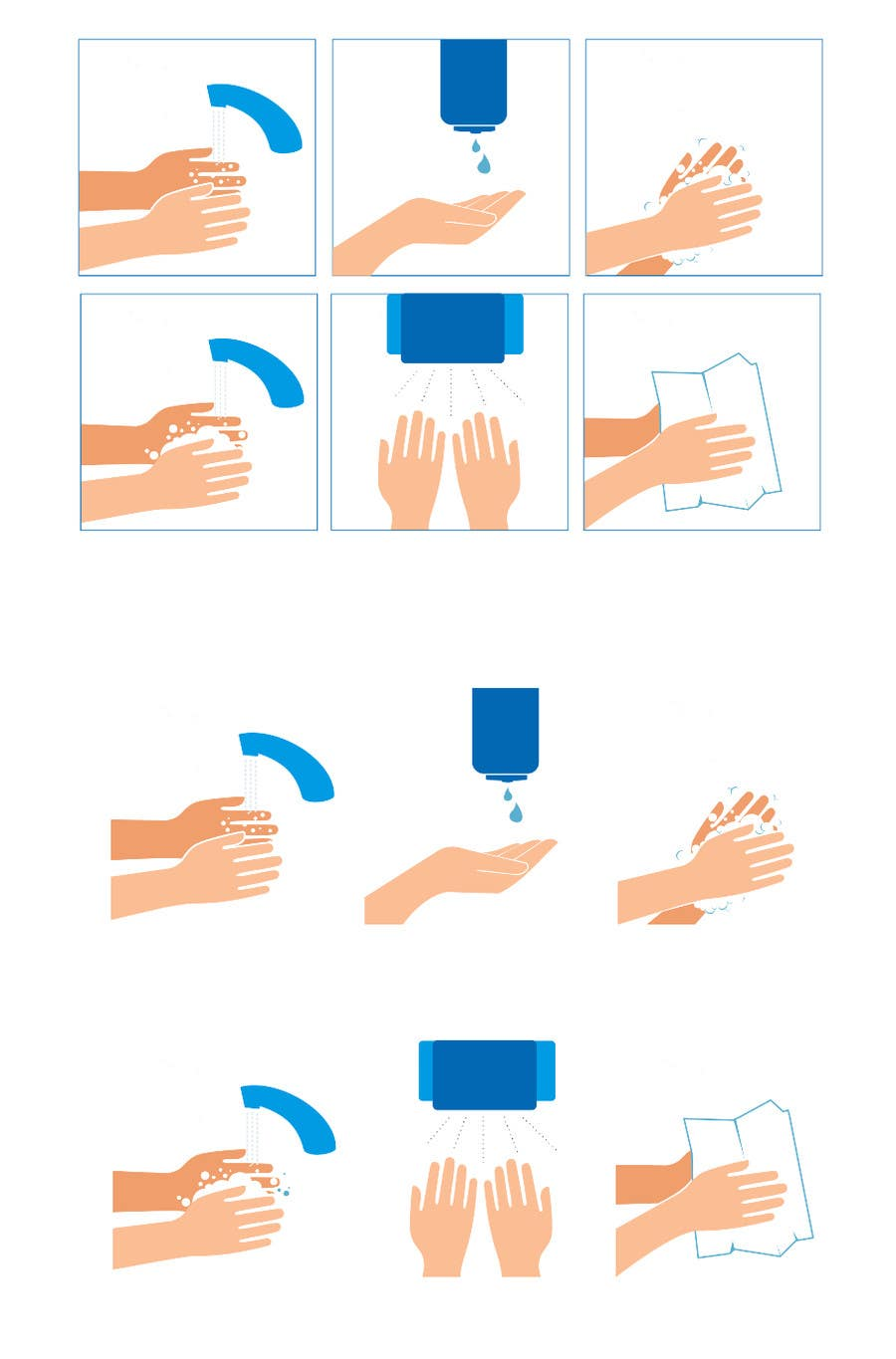 Bài tham dự cuộc thi #                                        3                                      cho                                         5 drawings for a strip depicting the washing of hands for children