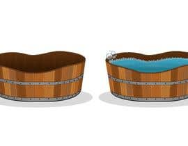 artpalani tarafından Illustrate a Wooden Half-Tub, with Water & Bubbles için no 7