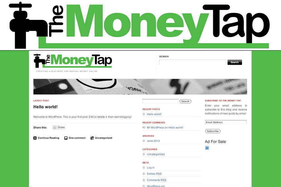 #57 for Design a Logo for my online Blog: The Money Tap by stanbaker