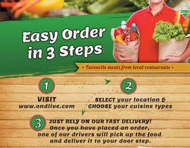 #18 untuk Design a Flyer for a new online food ordering and delivery service oleh achinsk