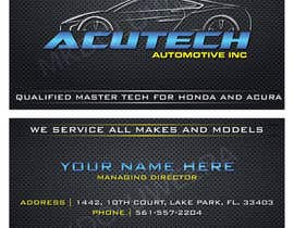 Nro 21 kilpailuun Design some Business Cards for acutech automotive inc using existing logo käyttäjältä mkdoluweera