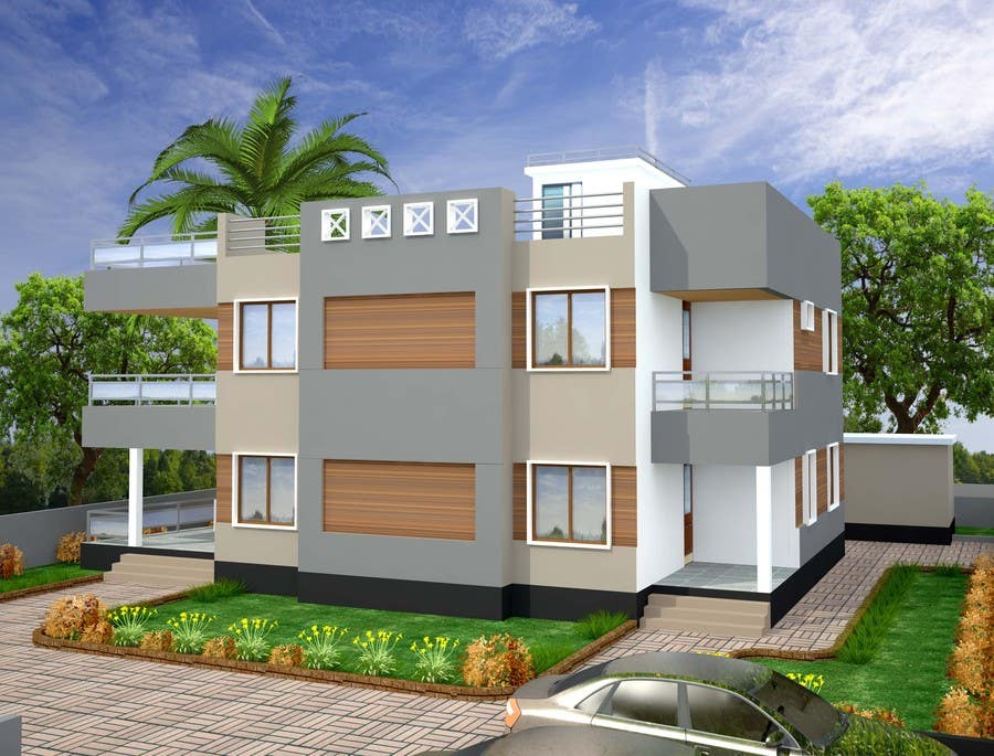 Redesign my house and render with a modern flat roof with for Parapet roof design pictures