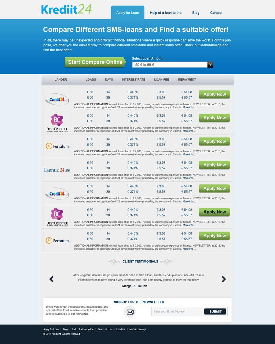 #4 for Create a Layout/Design for PayDay Loan Comparison Website by kosmografic