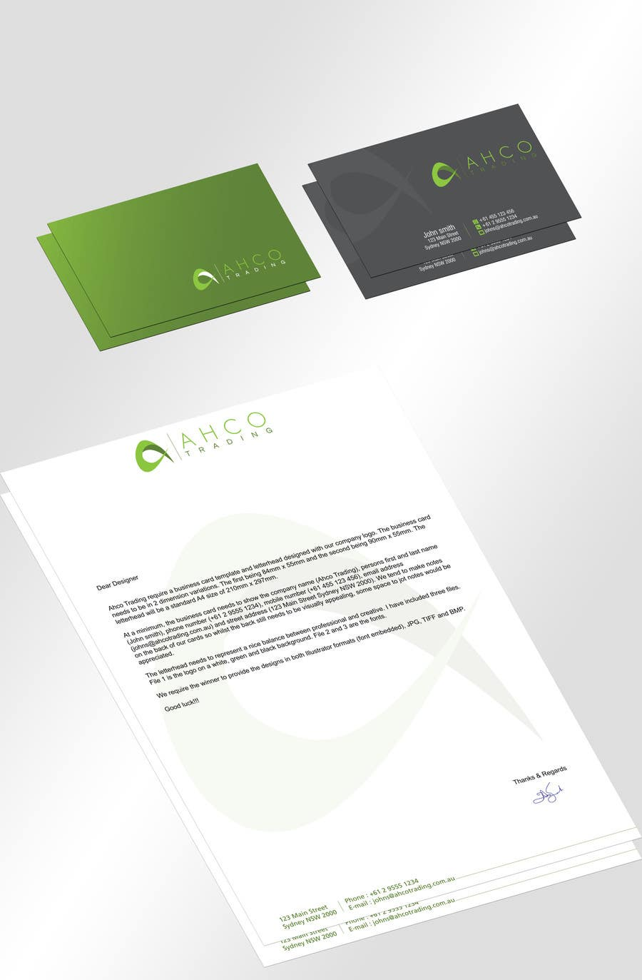 #45 for Ahco Trading - Business Card & Letterhead Template by jobee