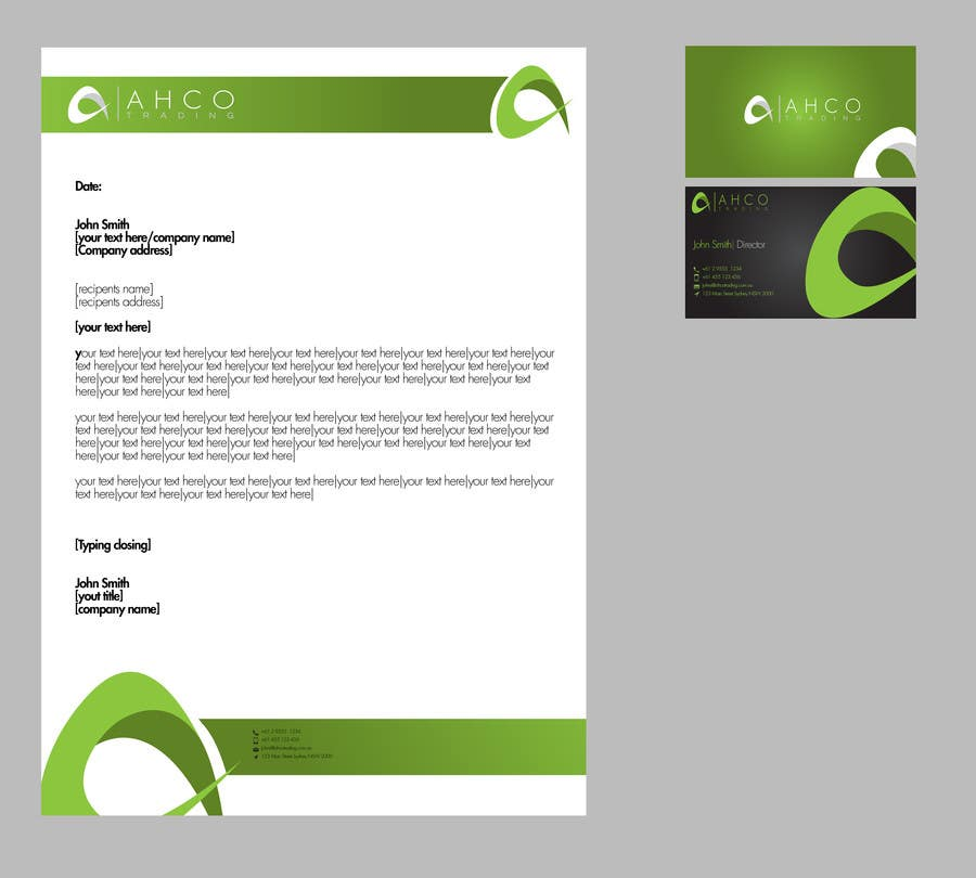 Inscrição nº 46 do Concurso para Ahco Trading - Business Card & Letterhead Template
