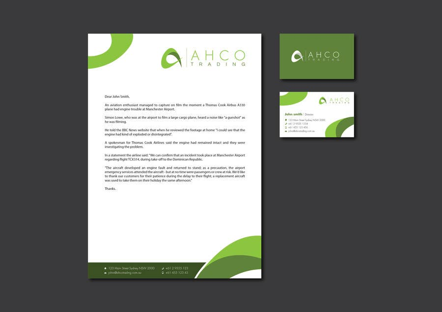 #14 for Ahco Trading - Business Card & Letterhead Template by raywind