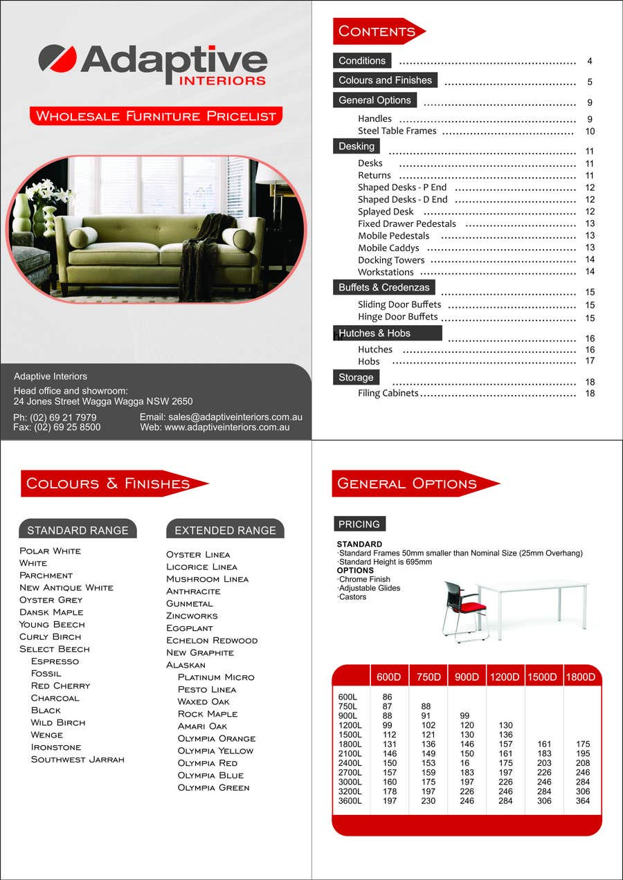 #7 for Design a Pricelist for Furniture by seefiworker007