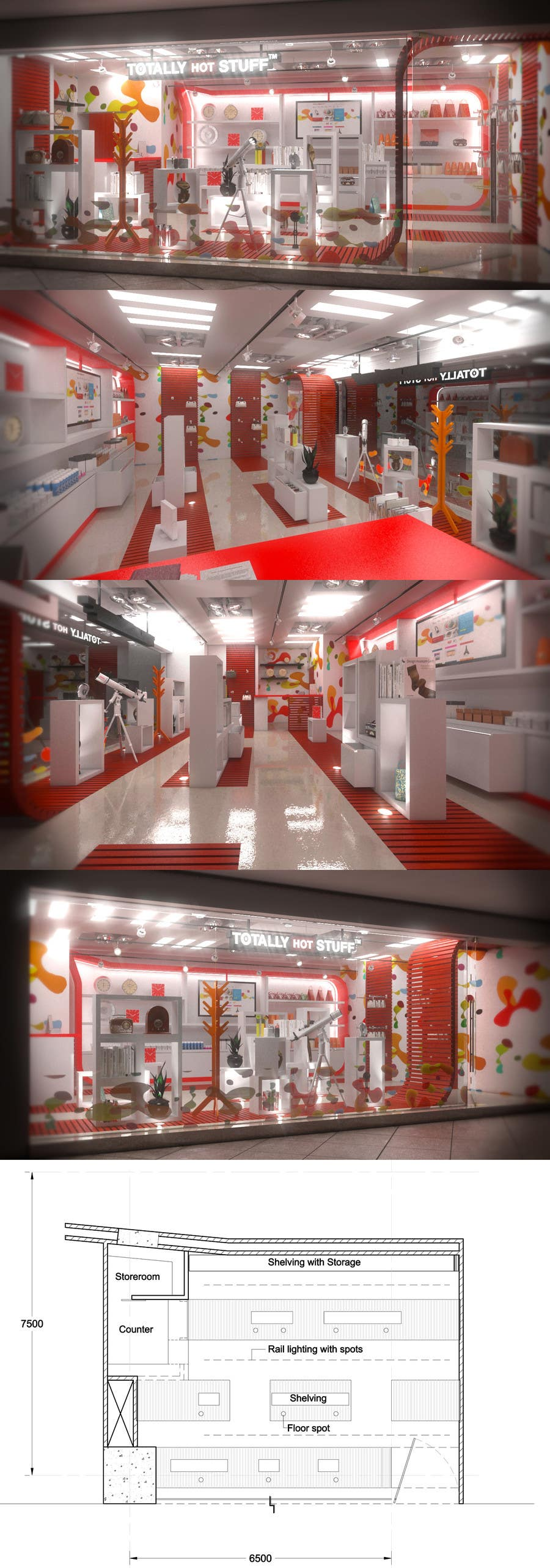 #11 for 3D Interior Design For A Novelty Lifestyle & Gifts Retailer Shop by EnzoVitali