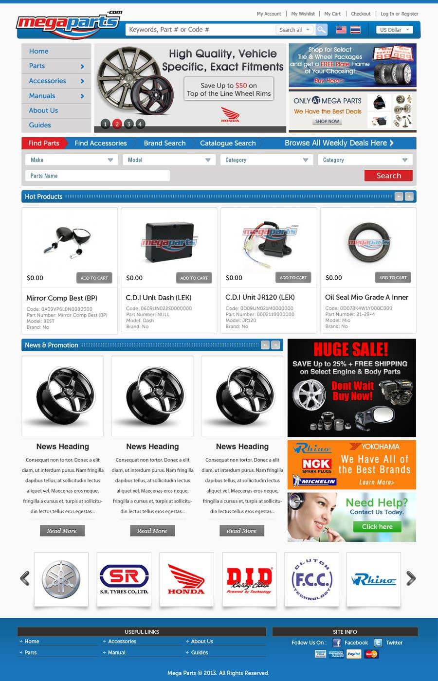#27 for Design a Website Mockup for megaparts.com by JosephNgo