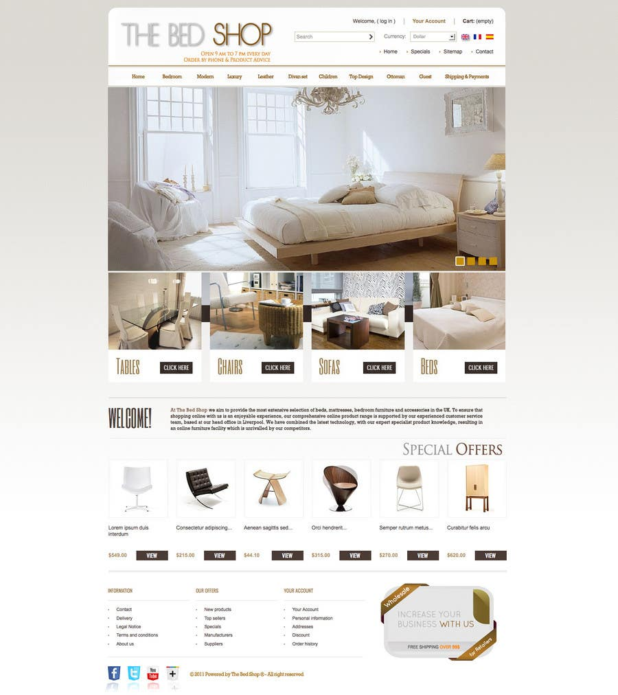 Proposition n°10 du concours Website Design for The Bed Shop (Online Furniture Retailer)