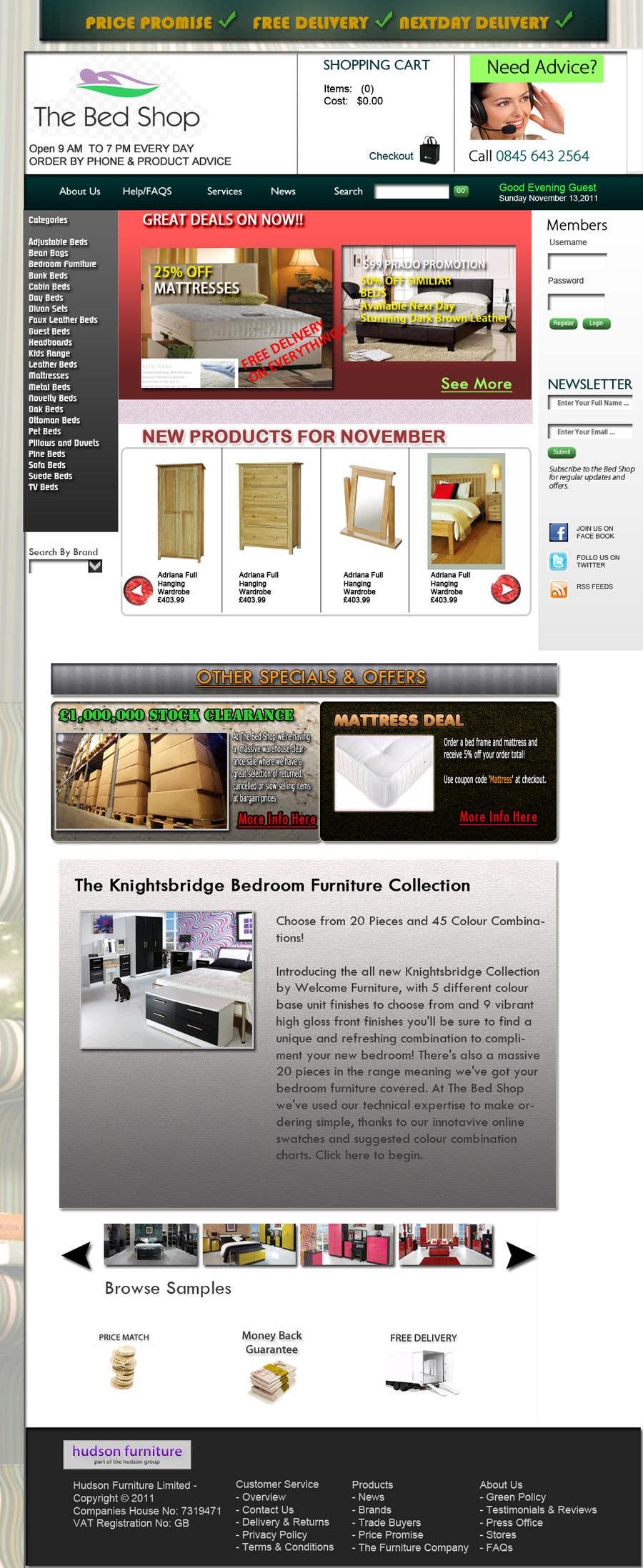 Конкурсная заявка №62 для Website Design for The Bed Shop (Online Furniture Retailer)