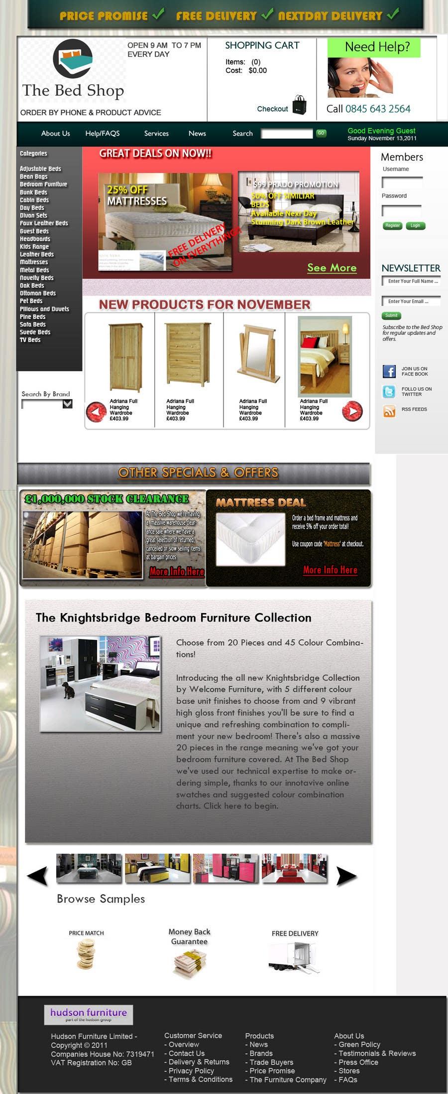 Penyertaan Peraduan #63 untuk Website Design for The Bed Shop (Online Furniture Retailer)