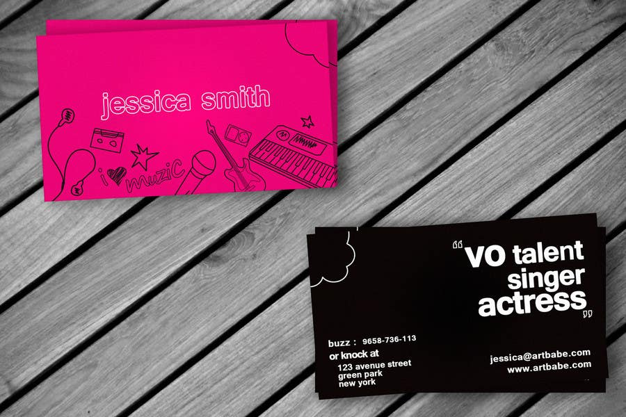 Konkurrenceindlæg #8 for Design some Business Cards for an Artist who Sing, Dance, Act, Voice Over, Performing Art