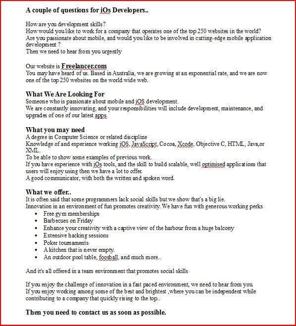 Proposition n°5 du concours Write a job ad for me