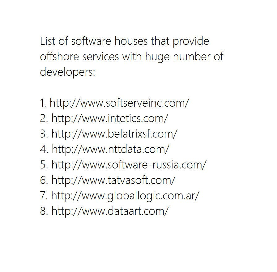 #6 for List of software house that provide offshore services with huge number of developers by enzob88