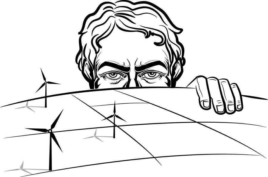 Penyertaan Peraduan #74 untuk Illustrate a giant peaking over a hill
