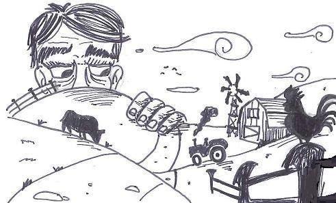 Penyertaan Peraduan #52 untuk Illustrate a giant peaking over a hill
